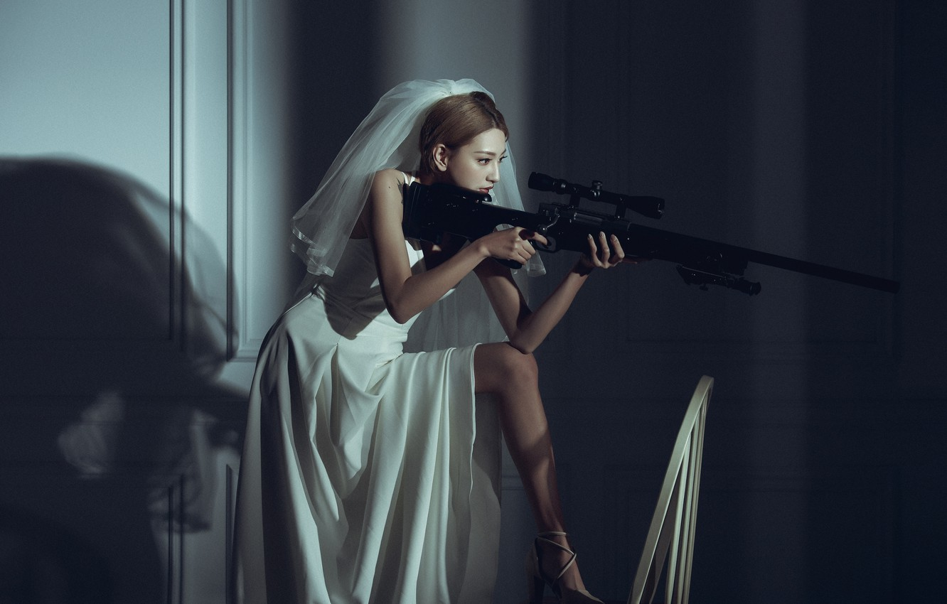 Photo wallpaper pose, model, the situation, sniper, Asian, the bride, rifle, veil