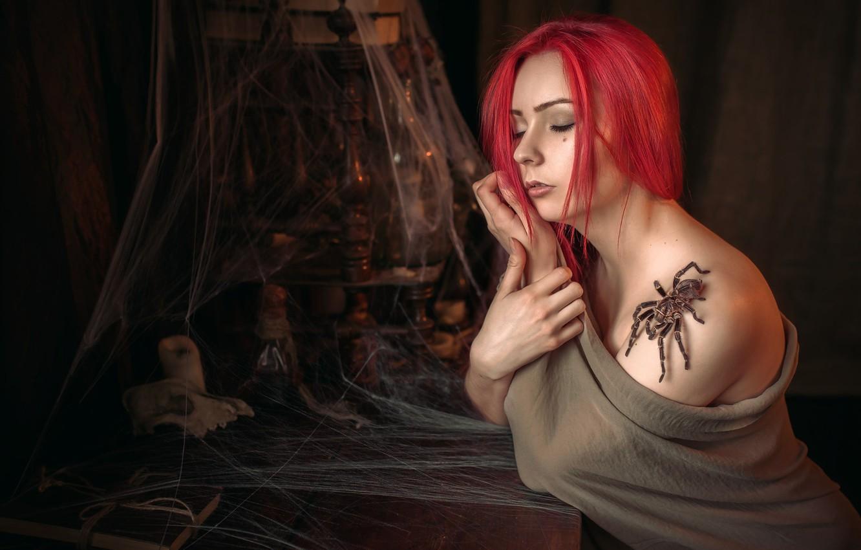 Photo wallpaper girl, web, spider, shoulder, Albert Forest
