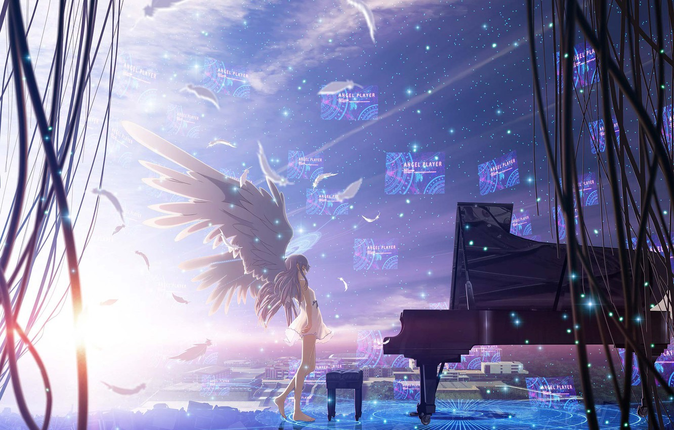 Wallpaper The Sky Girl Stars The City Wire Home Wings Anime Feathers Piano Angel Beats Angel Beats Kanade Tachibana Images For Desktop Section Prochee Download