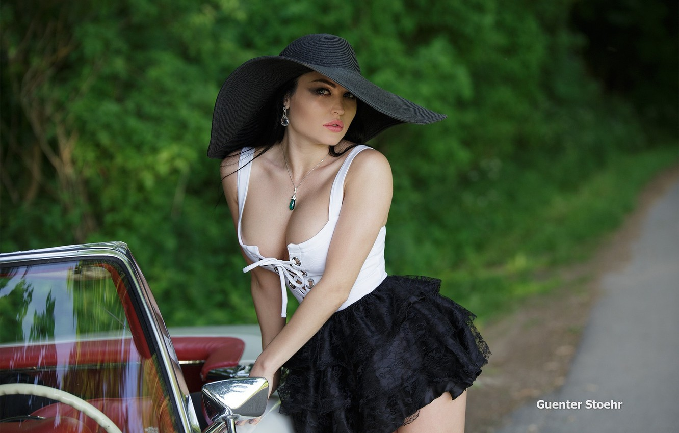 Photo wallpaper road, forest, pose, skirt, hat, makeup, brunette, hairstyle, topic, car, sexy, Guenter Stoehr, Yulia
