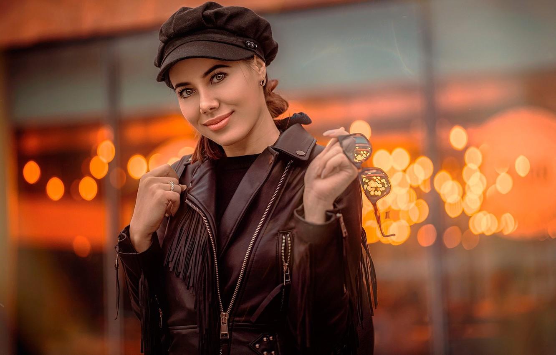 Photo wallpaper look, smile, glare, background, portrait, makeup, glasses, jacket, brown hair, takes, cute, bokeh, kozhanka, Kaan …