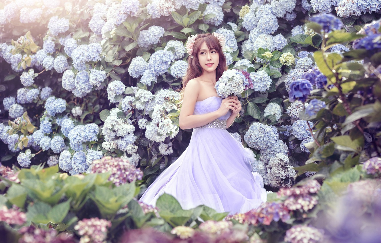 Photo wallpaper girl, flowers, holiday, dress, outfit, hydrangea