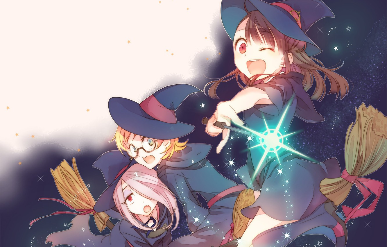 Photo wallpaper girl, flying, hat, anime, asian, witch, japanese, oriental, asiatic, bishojo, broom, shounen, mahou, Little Witch …