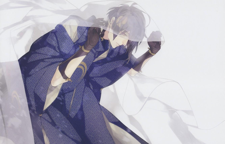 Photo wallpaper blanket, gloves, guy, kimono, grey background, art, Touken Ranbu, Mikazuki Munechika, Dance of swords, Fumi …
