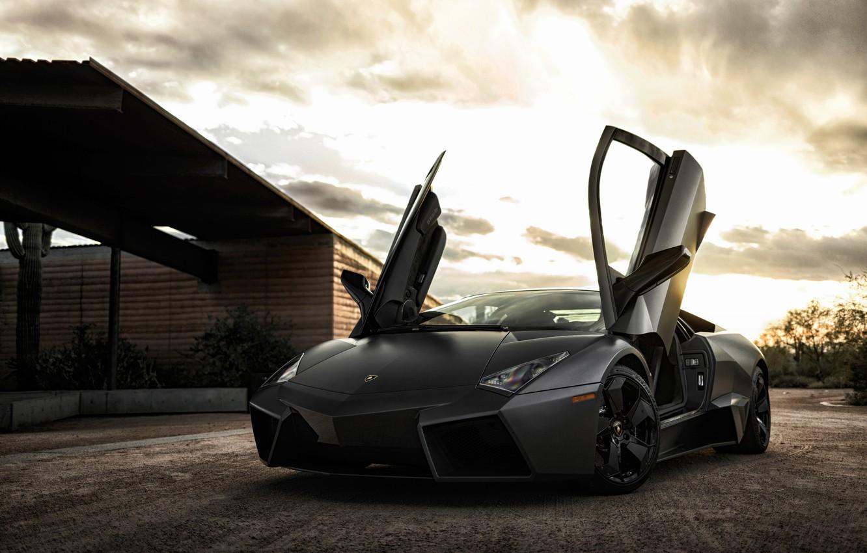 Photo wallpaper black, Lamborghini, Reventon, supercar, Black, Lamborghini, Reventon