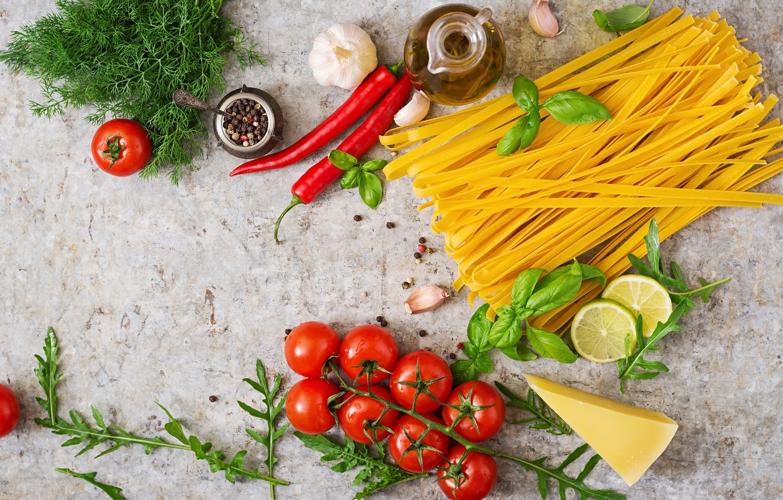 Photo wallpaper greens, pepper, tomato, Noodles