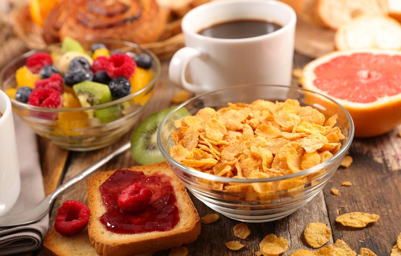 Photo wallpaper berries, coffee, Breakfast, fruit, jam, cereal, toast