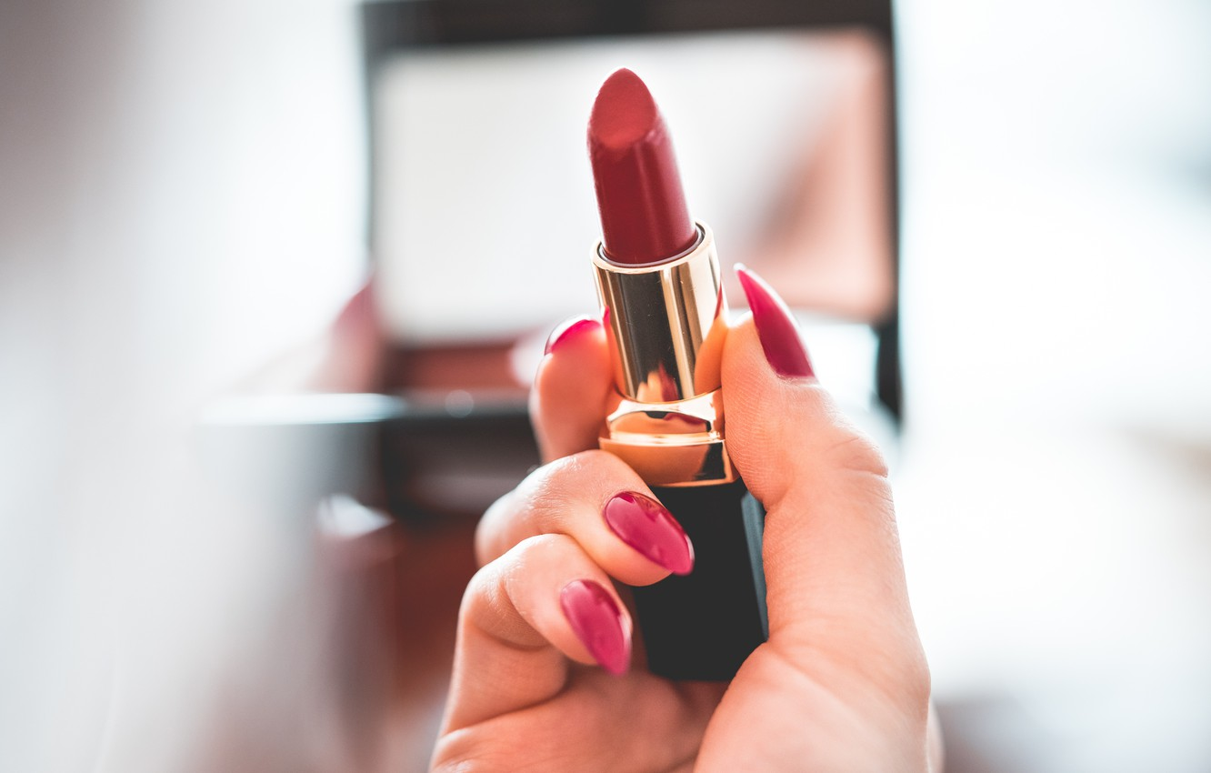 Photo wallpaper hands, lipstick, red, nails, manicure