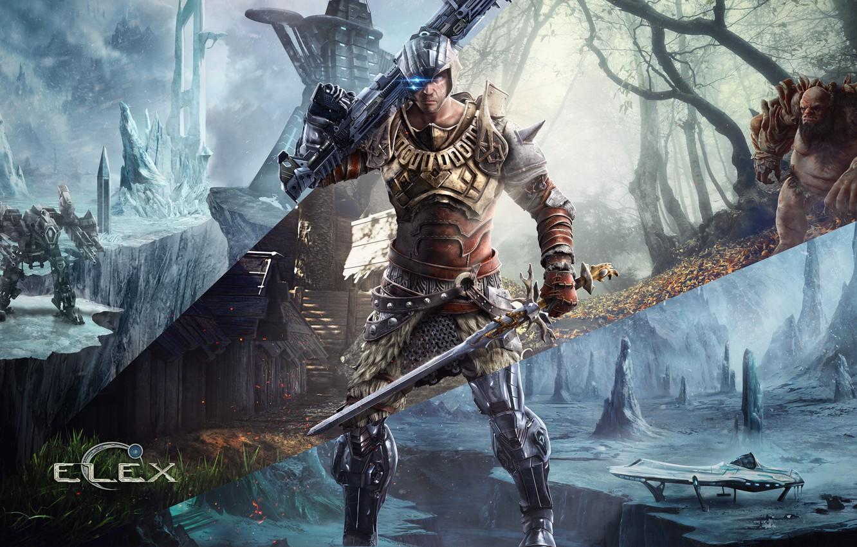 Photo wallpaper ice, forest, snow, weapons, tree, robot, sword, hero, gun, armor, times, Troll, Piranha Bytes, ELEX, …