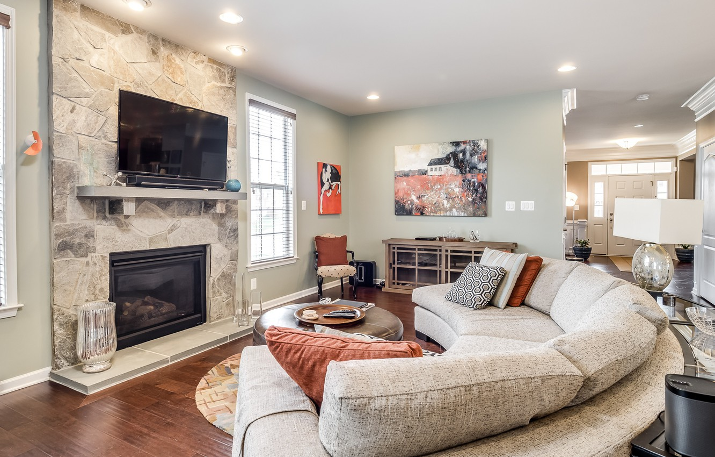 Photo wallpaper design, sofa, pillow, fireplace, living room