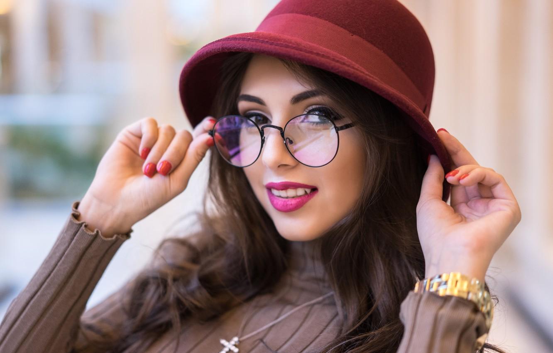 Photo wallpaper look, smile, model, hat, glasses, cutie, Karina