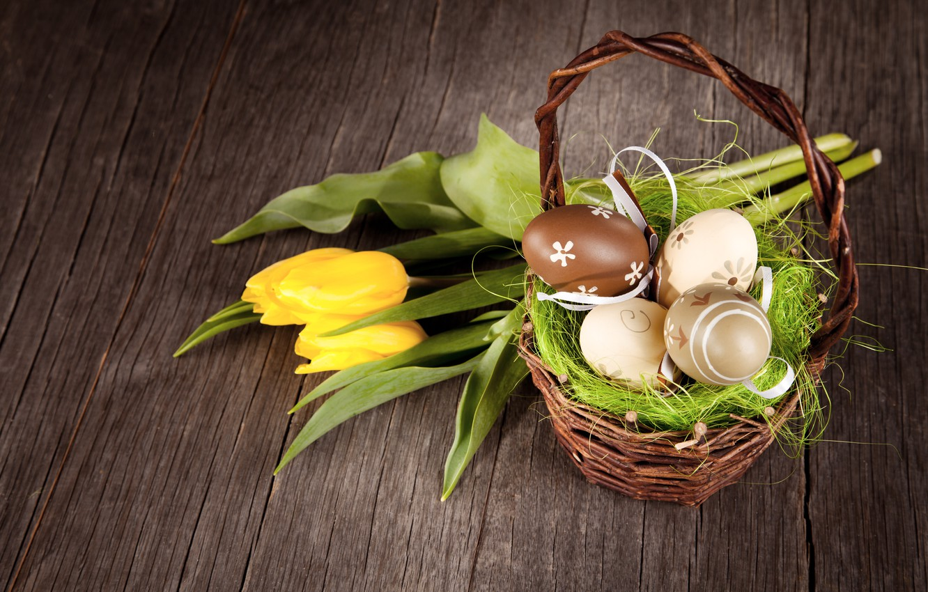 Photo wallpaper Easter, tulips, basket, wood, tulips, spring, Easter, eggs, decoration, Happy