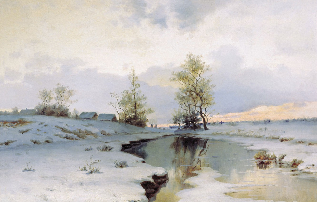 Photo wallpaper snow, river, oil, Canvas, Ivan ENDOGUROV, The beginning of spring