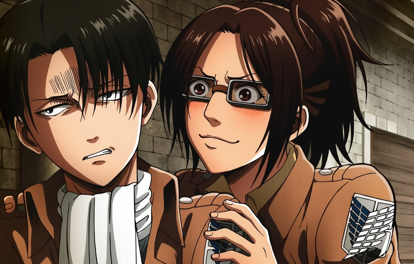 Photo wallpaper Anime, Art, Attack of the titans, Levi Ackerman, Hanji Zoe