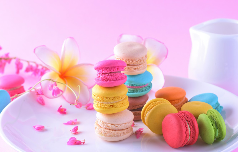 Photo wallpaper flowers, colorful, dessert, pink, flowers, cakes, sweet, sweet, dessert, macaroon, french, macaron, macaroon