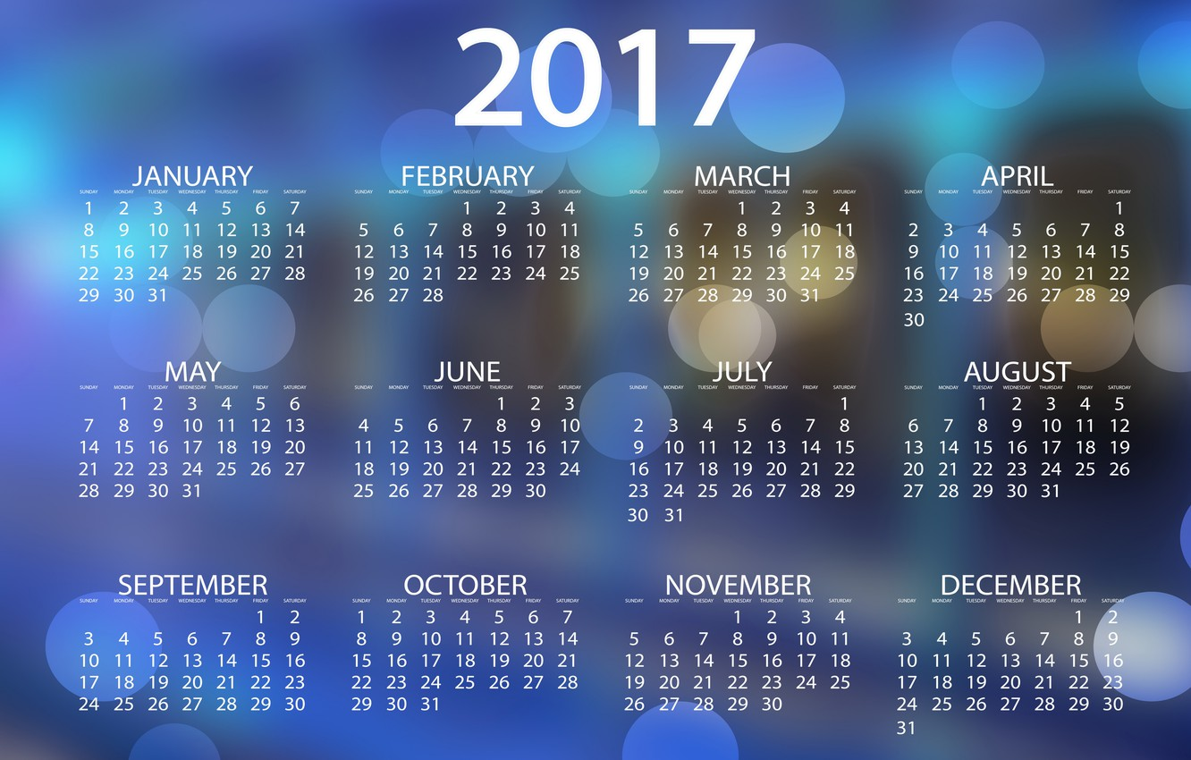 Photo wallpaper blue, abstraction, background, blue, graphics, new year, vector, figures, calendar, year, date, bokeh, months, 2017, …