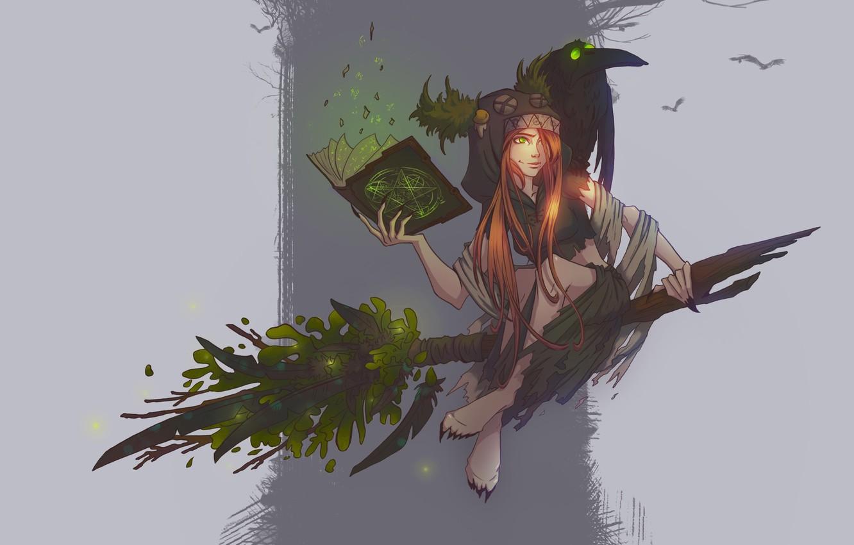 Photo wallpaper fantasy, magic, art, book, witch, broom, pomelo, Concept art - Witch, Elena Darvina