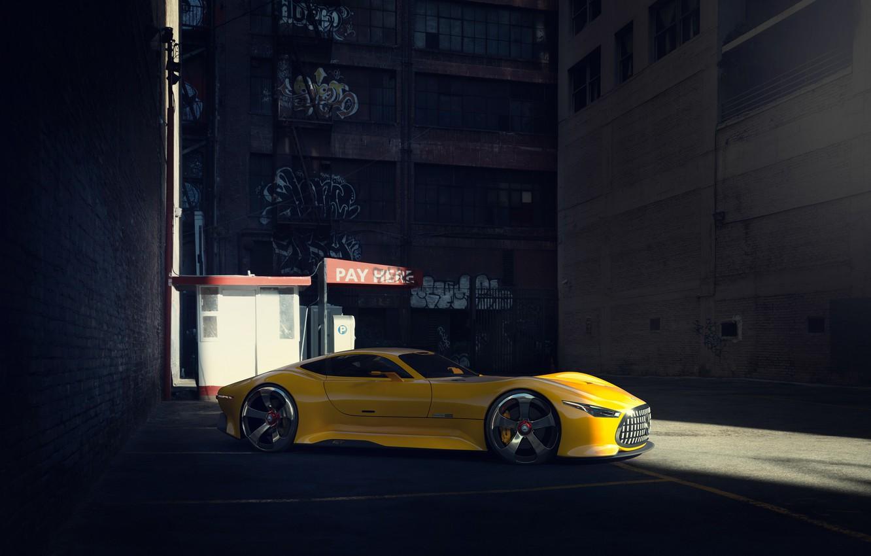 Photo wallpaper Mercedes-Benz, Car, Vision, AMG, Yellow, GT