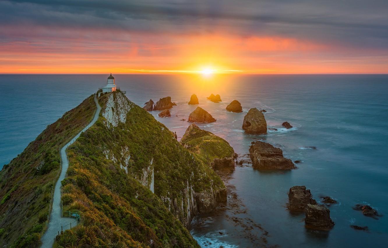 Photo wallpaper sunrise, the ocean, rocks, dawn, coast, lighthouse, morning, New Zealand, Pacific Ocean, New Zealand, Cape, …