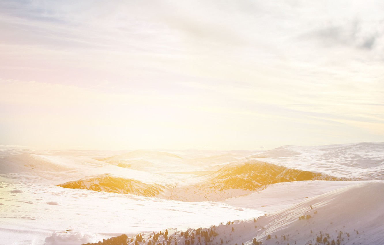 Photo wallpaper landscape, sunset, snow, sun, freeze, snowland, beautifful landscape