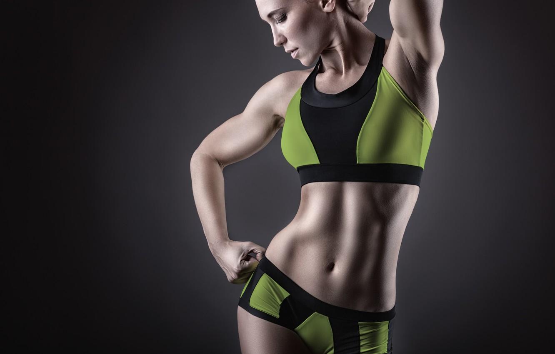 Photo wallpaper pose, female, Fitness, sportswear, muscular toning