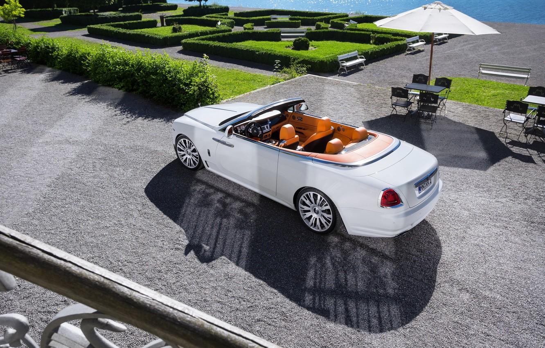 Photo wallpaper auto, white, the sun, Rolls-Royce, convertible