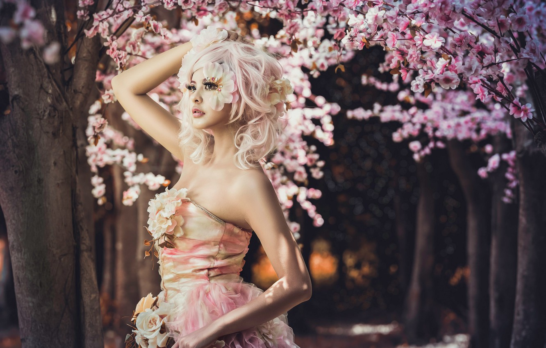 Photo wallpaper girl, trees, flowers, style, makeup, Sakura, dress, Asian, alley