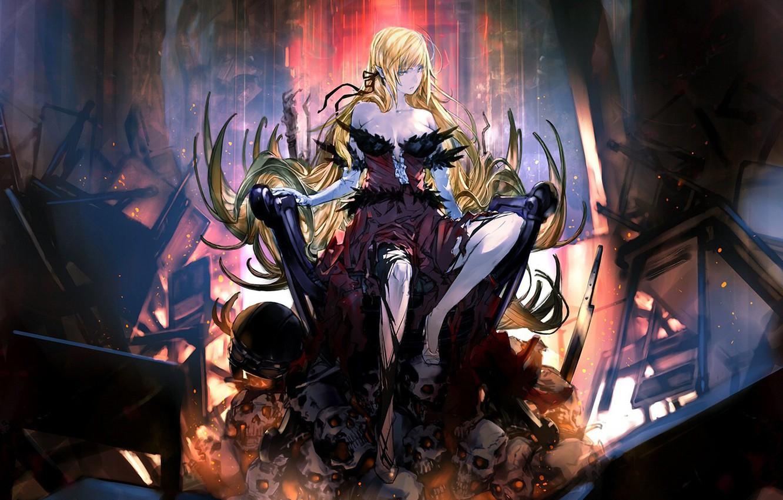 Photo wallpaper girl, skulls, anime, vampire, blonde, artwork, fantasy art
