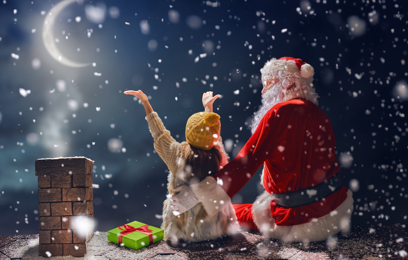 Photo wallpaper New Year, Christmas, winter, snow, merry christmas, gifts, santa claus