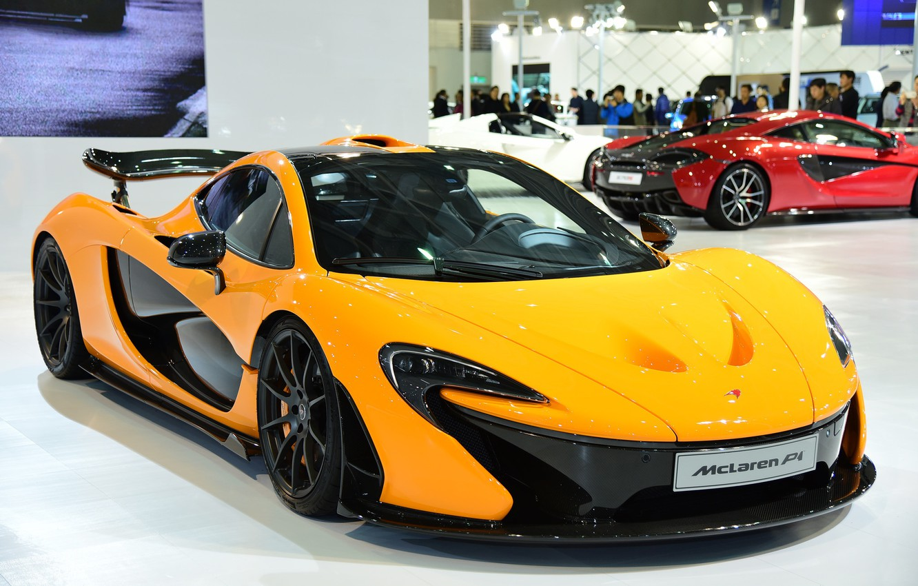 Photo wallpaper yellow, supercar, McLaren P1