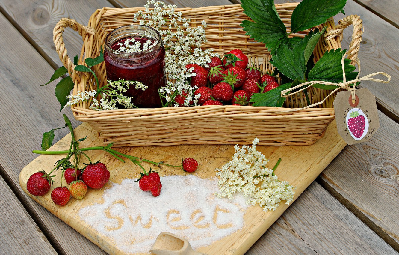 Photo wallpaper leaves, strawberry, berry, delicious, jam
