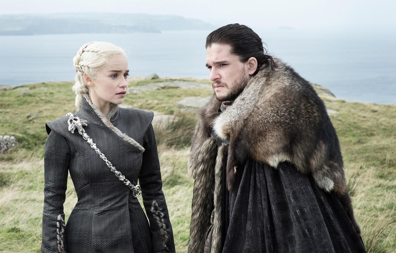 Photo wallpaper Game of Thrones, Game of thrones, Emilia Clarke, Daenerys Targaryen, Emilia Clarke, Jon Snow, Kit ...