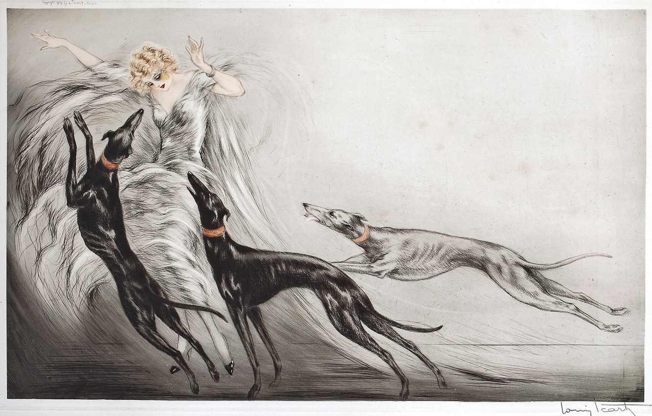 Photo wallpaper dogs, 1929, Louis Icart, Hunting with hounds II