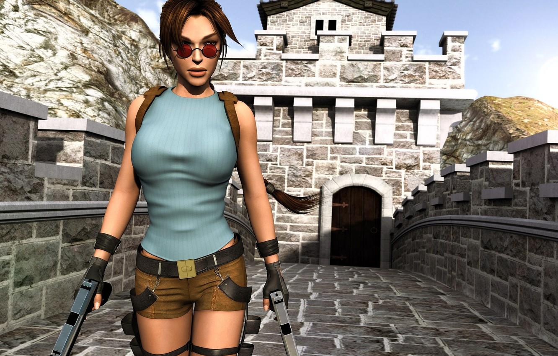 Photo wallpaper girl, weapons, guns, shorts, glasses, Tomb Raider, Lara Croft, Lara Croft