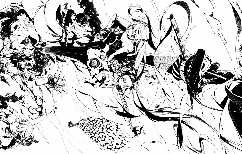Photo wallpaper Anime, Black and white, monochrome