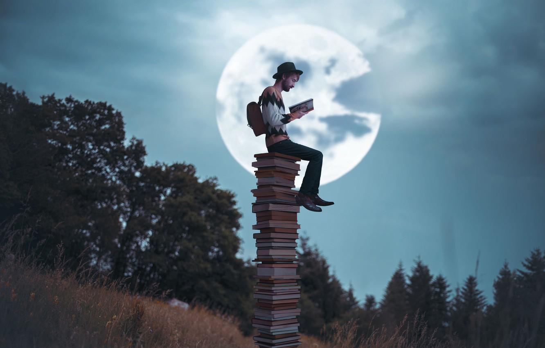Photo wallpaper the moon, books, reading, Vincent Bourilhon, The night storyteller