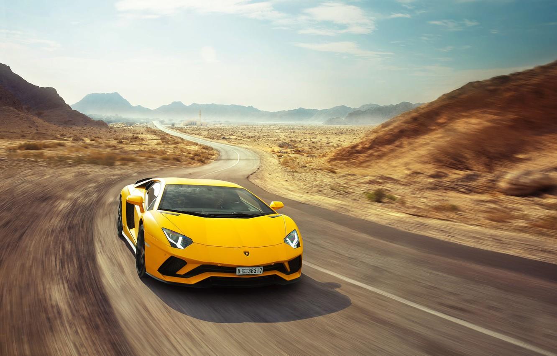 Photo wallpaper Lamborghini, Speed, Yellow, Supercar, Aventador S