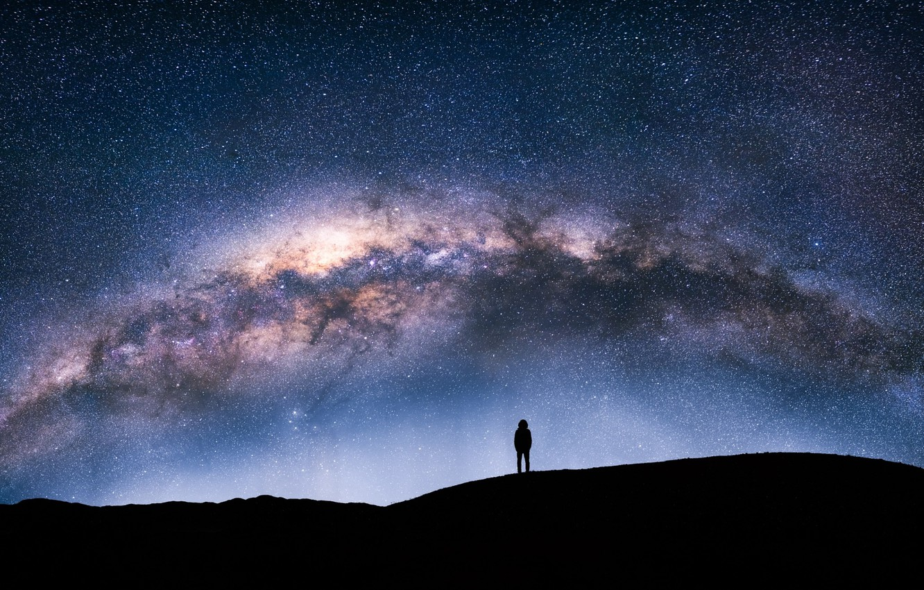 Photo wallpaper the sky, stars, night, people, silhouette, the milky way
