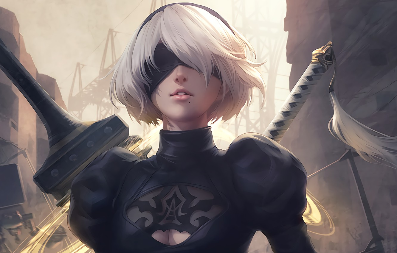 Photo wallpaper girl, sword, white, game, black, android, art, beautiful, katana, square enix, factory, nier, town, Destruction, …