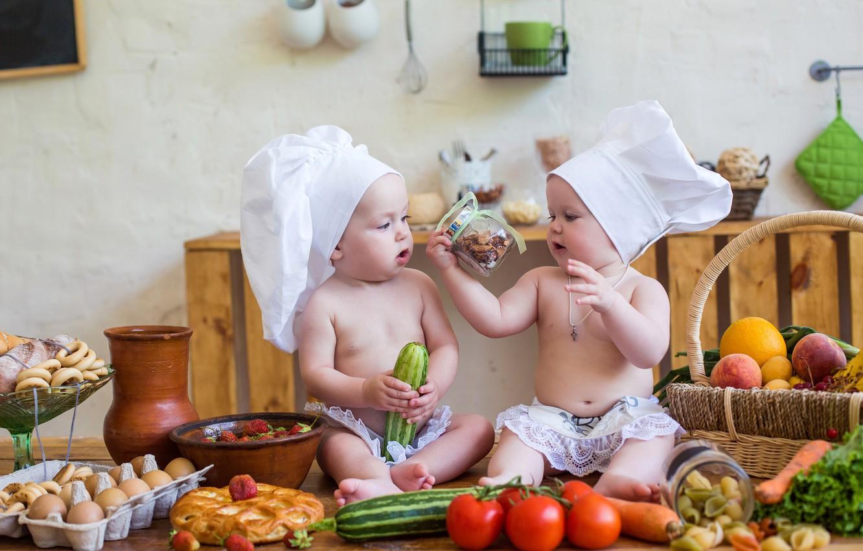 Photo wallpaper children, table, basket, strawberry, kitchen, small, cook, vegetables, boys, child, vegetables, kitchen, infant