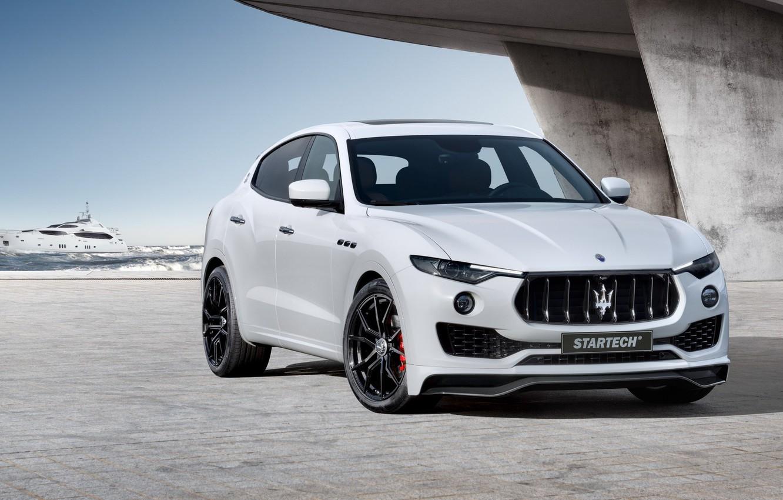 Photo wallpaper sea, white, Maserati, wave, grille, front, pierce, concrete, drives, radiator, view, Design, Maserati, the front, …