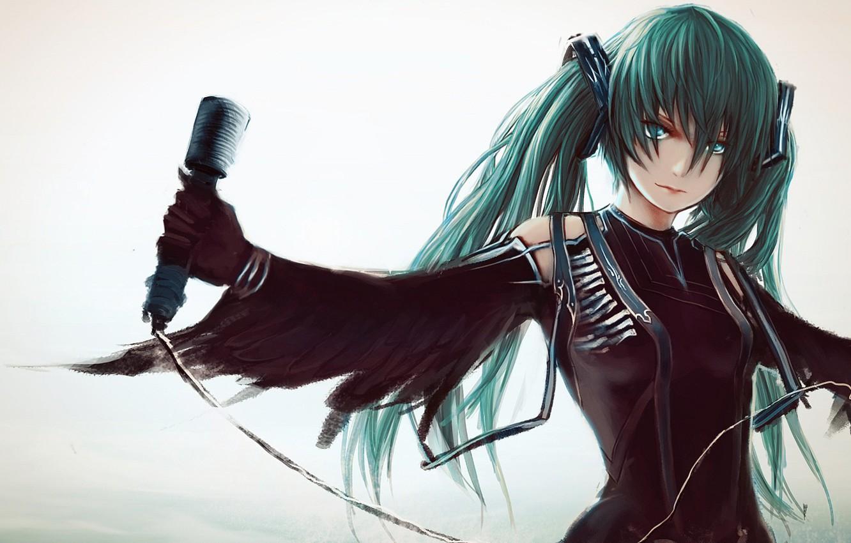 Photo wallpaper look, girl, background, anime, Vocaloid, Miku