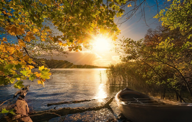 Photo wallpaper autumn, light, lake, boat, morning