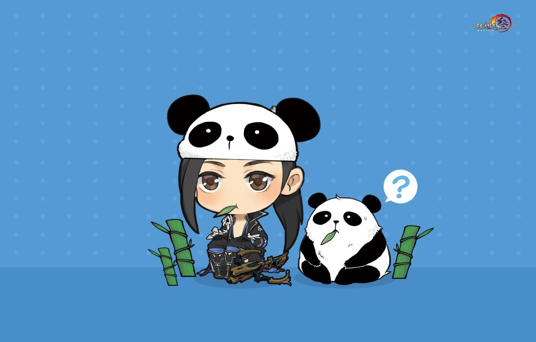 Photo wallpaper the game, anime, bamboo, art, Panda, pet, Gian Vang, Tibetan sword