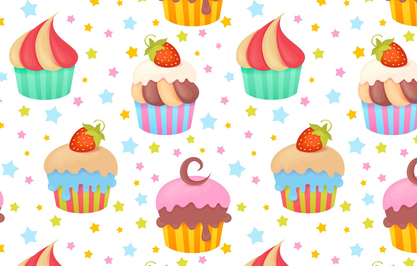Photo wallpaper Background, Texture, Cupcakes