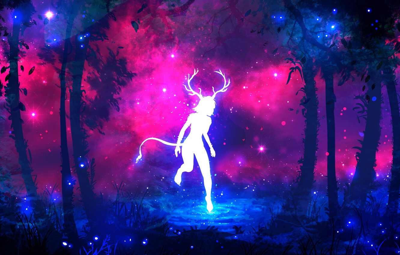 Photo wallpaper forest, purple, grass, water, girl, space, stars, trees, branches, fireflies, tree, lilac, pink, blue, dark, …