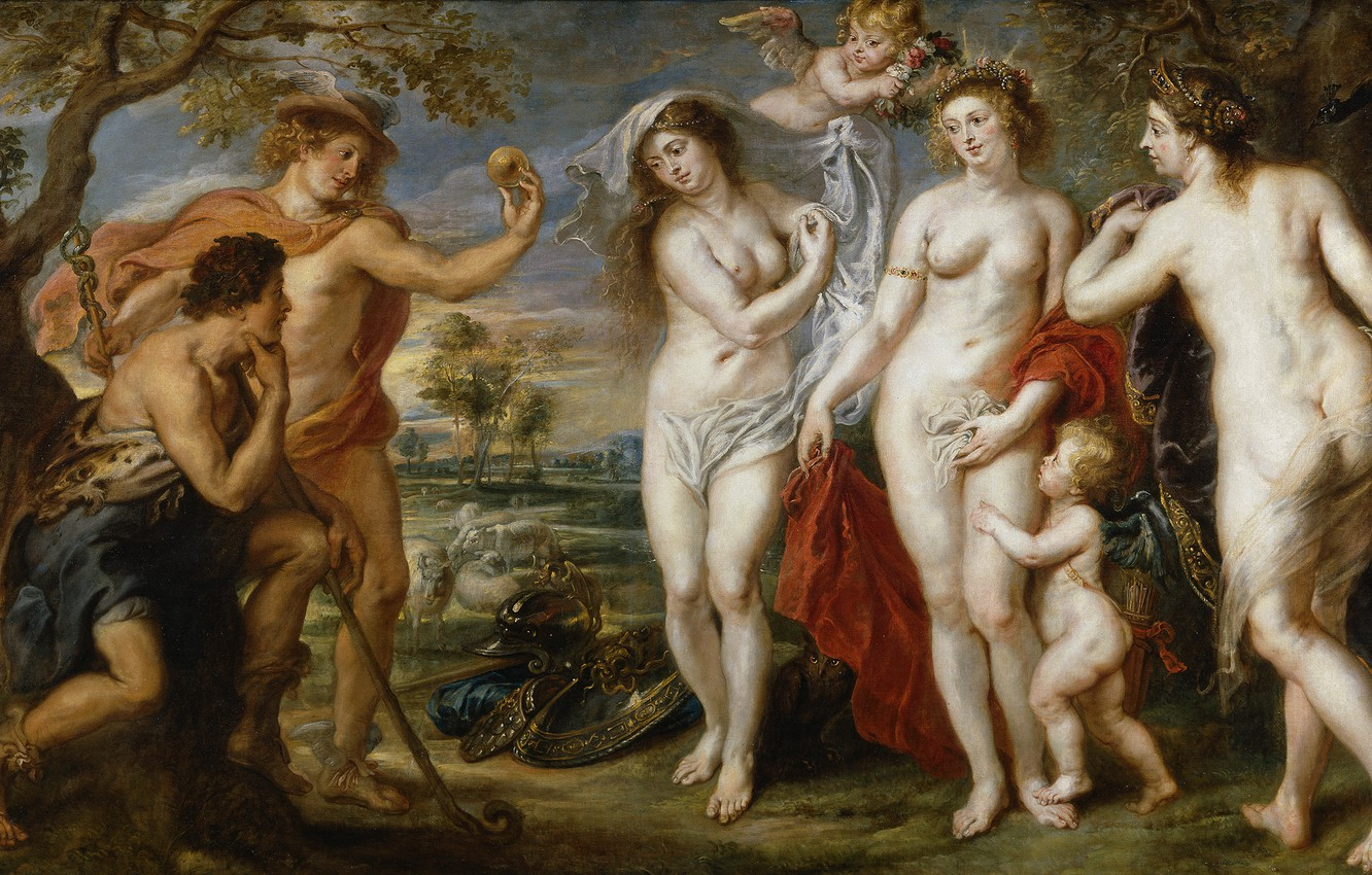Photo wallpaper erotic, picture, Peter Paul Rubens, mythology, The Judgment Of Paris, Pieter Paul Rubens