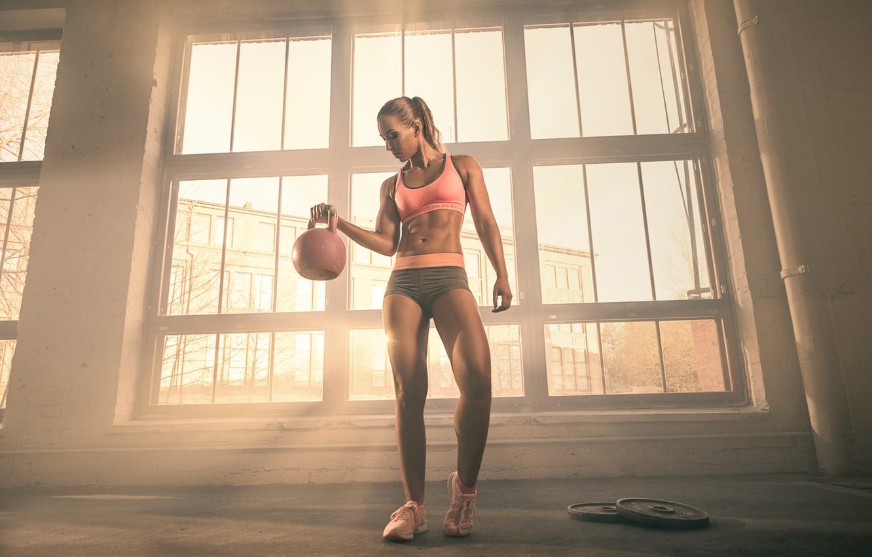 Photo wallpaper girl, figure, window, fitness, weight