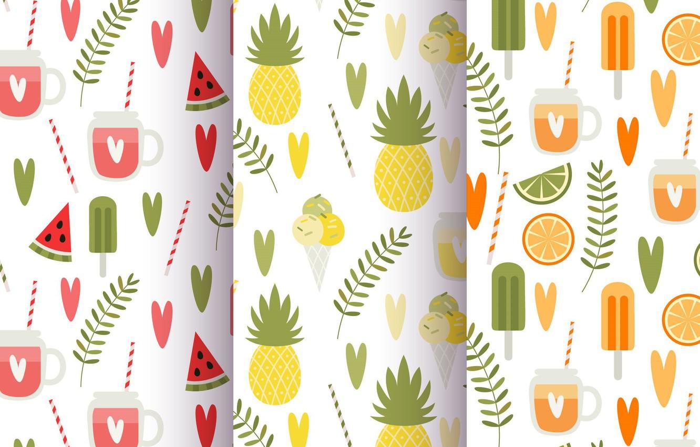 Photo wallpaper summer, background, texture, summer, fruit, vintage, patterns, Leaves, Fruit, Juice, Pineapple