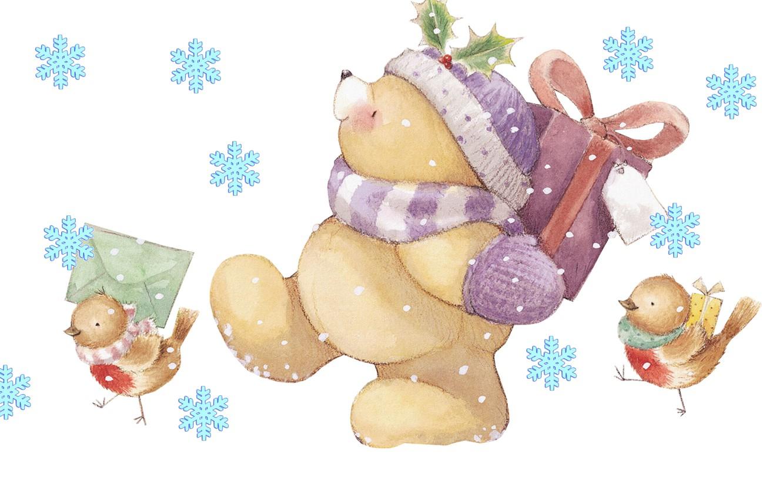 Photo wallpaper winter, letter, snowflakes, mood, holiday, gift, art, bear, New year, birds, children's, Forever Friends Deckchair …